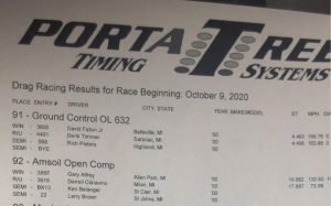 Milan Dragway Amsoil Open Comp results 9oct2020